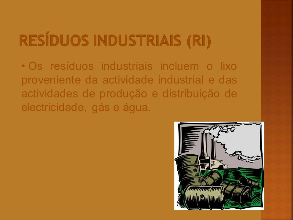 Os resíduos industriais incluem o lixo proveniente da actividade industrial e das actividades de produção e distribuição de electricidade, gás e água.