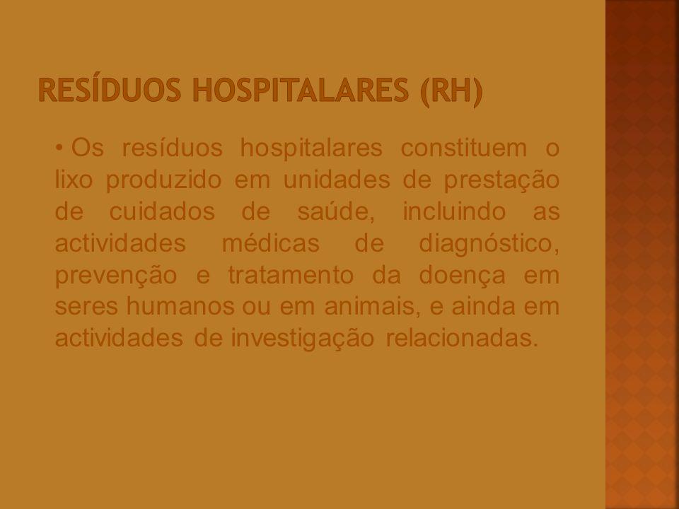 Os resíduos hospitalares constituem o lixo produzido em unidades de prestação de cuidados de saúde, incluindo as actividades médicas de diagnóstico, p