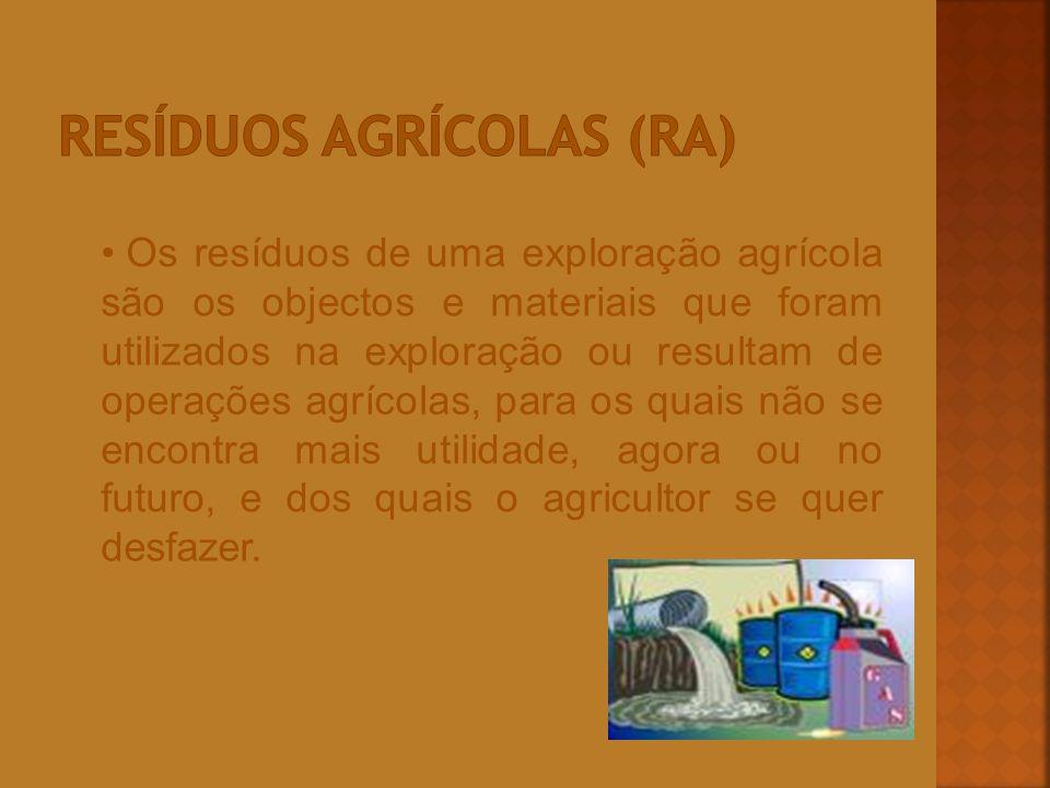 Os resíduos de uma exploração agrícola são os objectos e materiais que foram utilizados na exploração ou resultam de operações agrícolas, para os quai