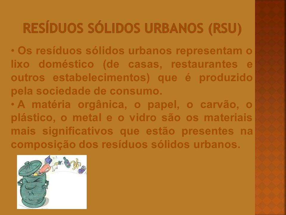 Os resíduos sólidos urbanos representam o lixo doméstico (de casas, restaurantes e outros estabelecimentos) que é produzido pela sociedade de consumo.