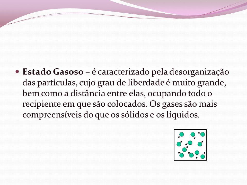Estado Gasoso – é caracterizado pela desorganização das partículas, cujo grau de liberdade é muito grande, bem como a distância entre elas, ocupando t