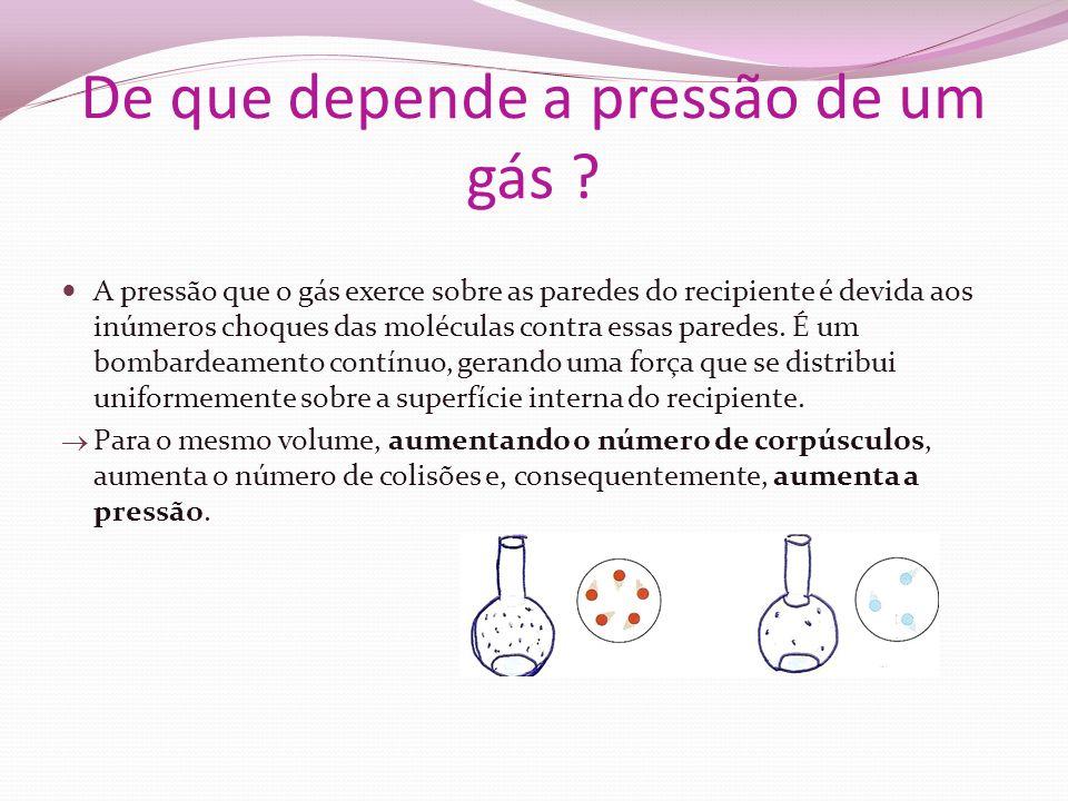 De que depende a pressão de um gás ? A pressão que o gás exerce sobre as paredes do recipiente é devida aos inúmeros choques das moléculas contra essa