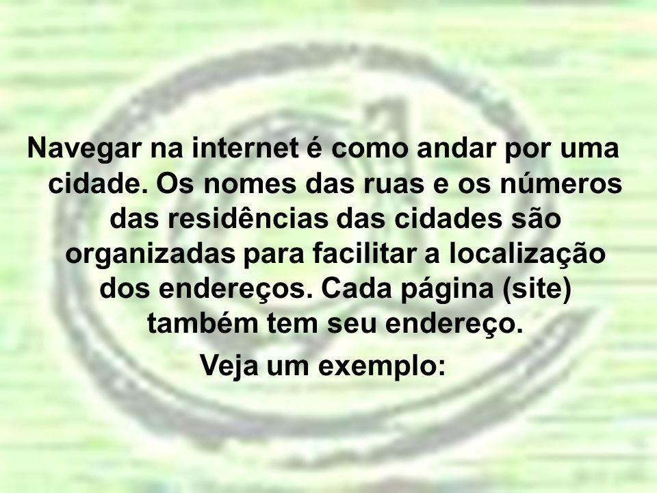 http://www.mec.gov.br http – é o protocolo de identificação e transferência de documento na Internet; www – significa que o endereço está na World Wide Web; mec – é o nome registrado do site; gov – é o código para sites de instituições governamentais; br – é o código para sites registrados no Brasil;