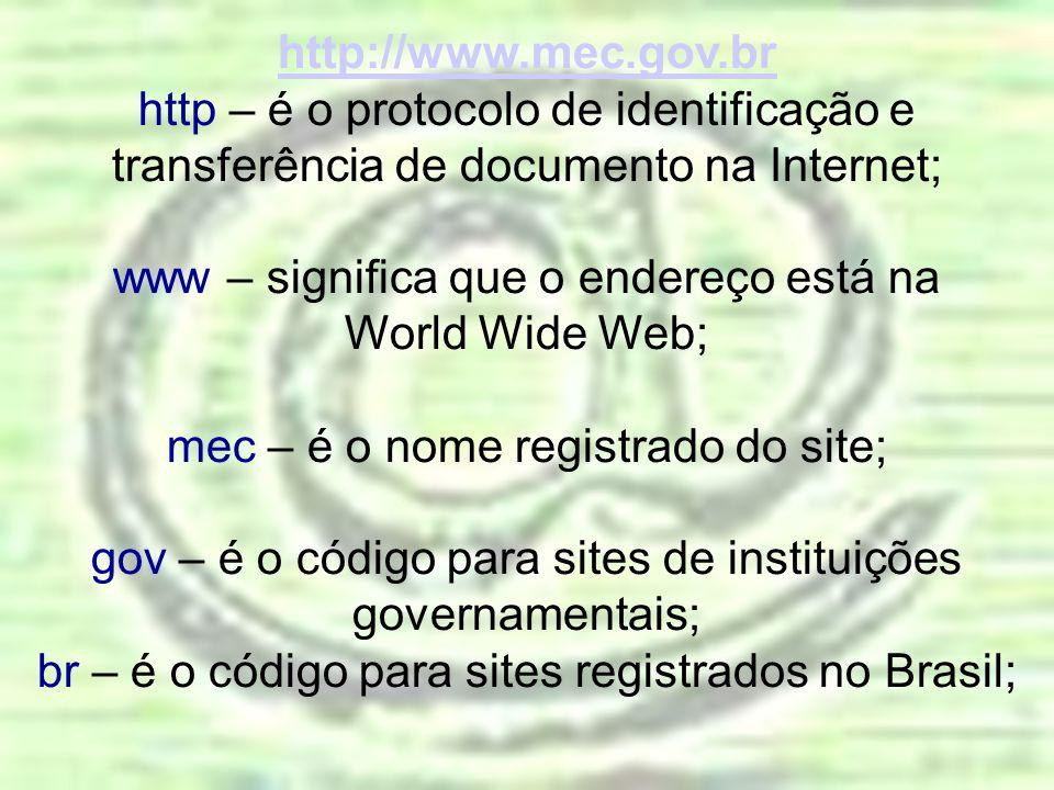 http://www.mec.gov.br http – é o protocolo de identificação e transferência de documento na Internet; www – significa que o endereço está na World Wid