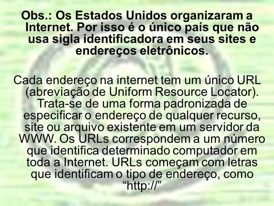 Obs.: Os Estados Unidos organizaram a Internet. Por isso é o único país que não usa sigla identificadora em seus sites e endereços eletrônicos. Cada e