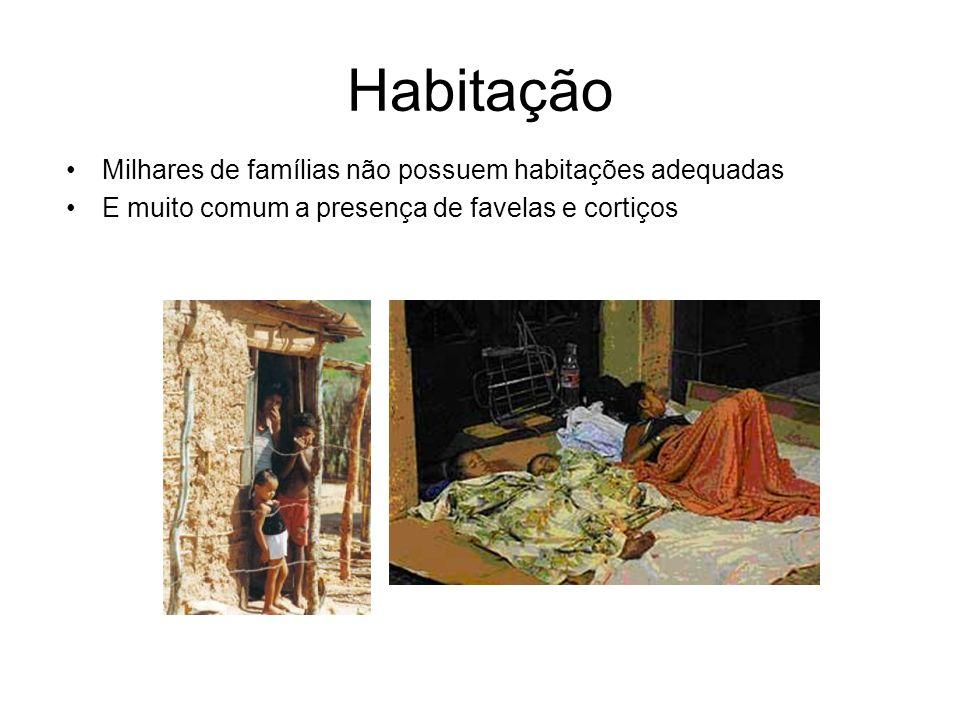 Habitação Milhares de famílias não possuem habitações adequadas E muito comum a presença de favelas e cortiços