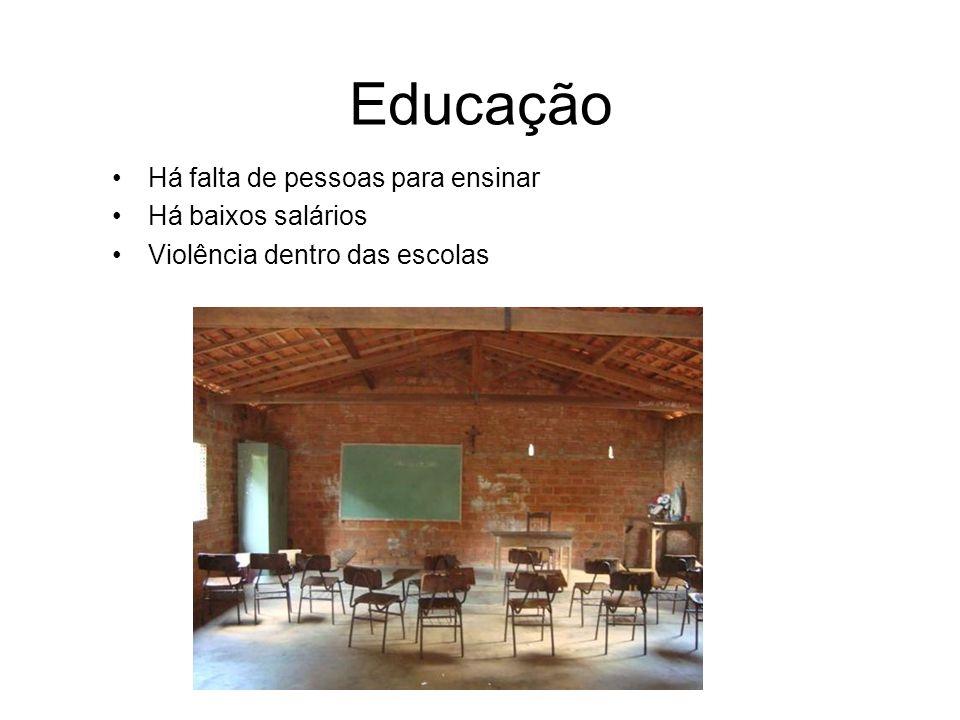 Educação Há falta de pessoas para ensinar Há baixos salários Violência dentro das escolas