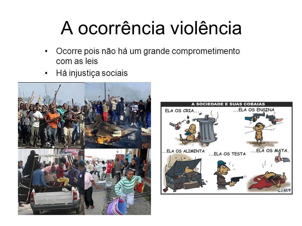 A ocorrência violência Ocorre pois não há um grande comprometimento com as leis Há injustiça sociais