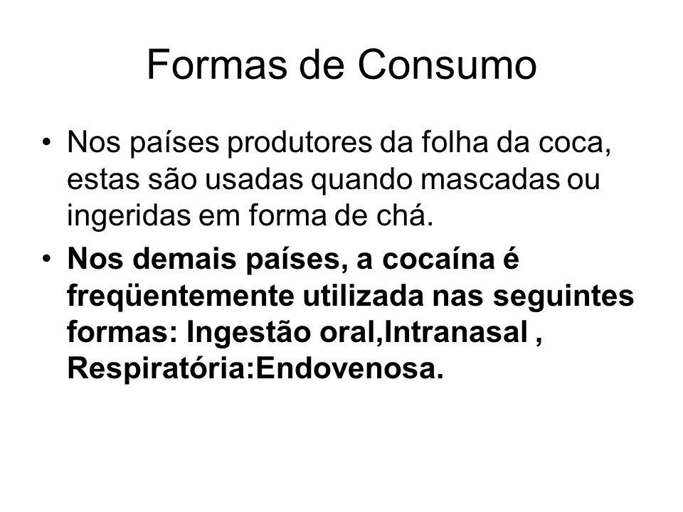 Formas de Consumo Nos países produtores da folha da coca, estas são usadas quando mascadas ou ingeridas em forma de chá. Nos demais países, a cocaína