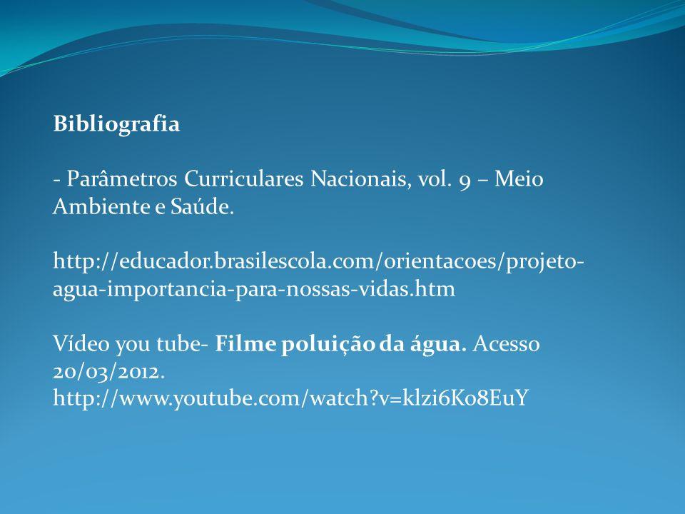 Bibliografia - Parâmetros Curriculares Nacionais, vol. 9 – Meio Ambiente e Saúde. http://educador.brasilescola.com/orientacoes/projeto- agua-importanc