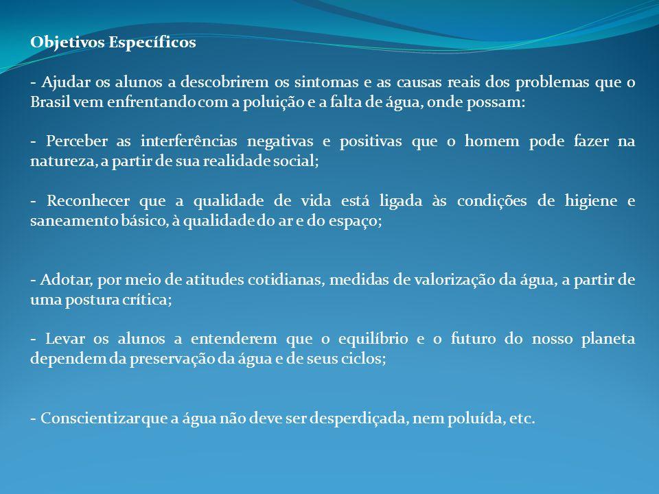 Objetivos Específicos - Ajudar os alunos a descobrirem os sintomas e as causas reais dos problemas que o Brasil vem enfrentando com a poluição e a fal