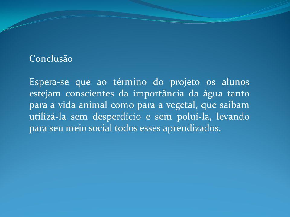 Conclusão Espera-se que ao término do projeto os alunos estejam conscientes da importância da água tanto para a vida animal como para a vegetal, que s