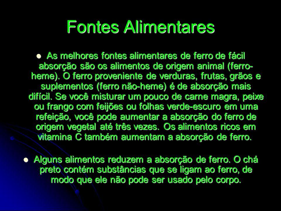 Fontes Alimentares As melhores fontes alimentares de ferro de fácil absorção são os alimentos de origem animal (ferro- heme). O ferro proveniente de v