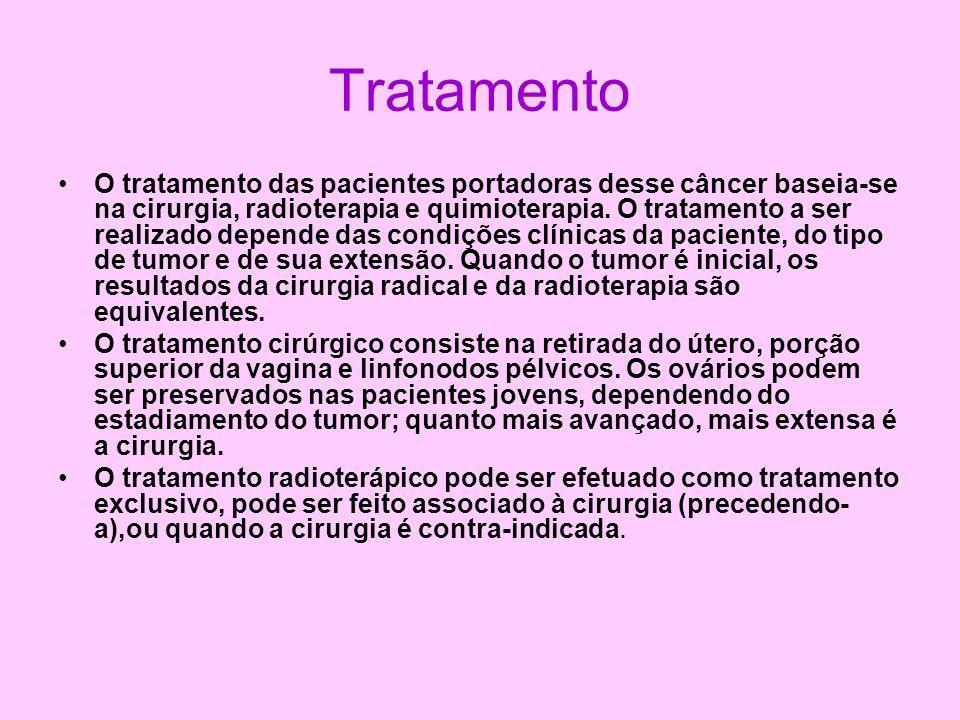 Tratamento O tratamento das pacientes portadoras desse câncer baseia-se na cirurgia, radioterapia e quimioterapia. O tratamento a ser realizado depend