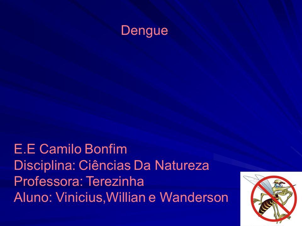 E.E Camilo Bonfim Disciplina: Ciências Da Natureza Professora: Terezinha Aluno: Vinicius,Willian e Wanderson Dengue