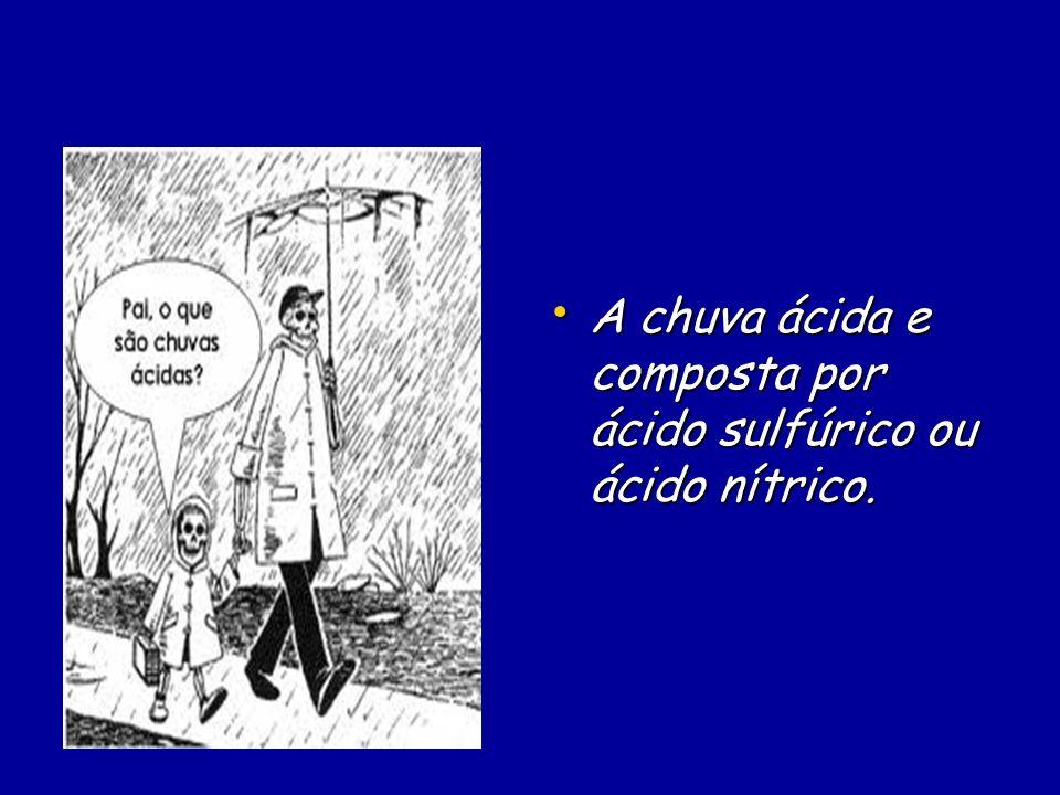 A chuva ácida e composta por ácido sulfúrico ou ácido nítrico. A chuva ácida e composta por ácido sulfúrico ou ácido nítrico.