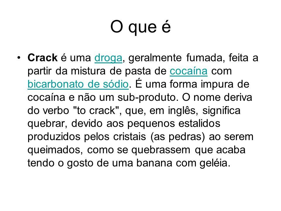 O que é Crack é uma droga, geralmente fumada, feita a partir da mistura de pasta de cocaína com bicarbonato de sódio. É uma forma impura de cocaína e