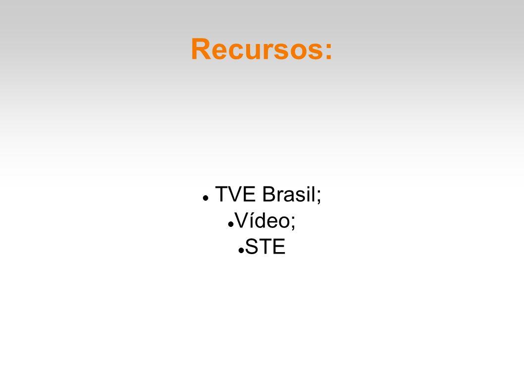 Recursos: TVE Brasil; Vídeo; STE