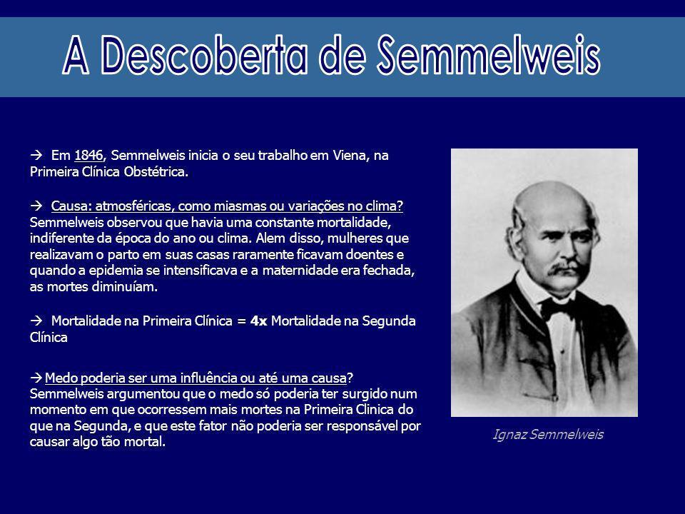 Ignaz Semmelweis Em 1846, Semmelweis inicia o seu trabalho em Viena, na Primeira Clínica Obstétrica. Causa: atmosféricas, como miasmas ou variações no