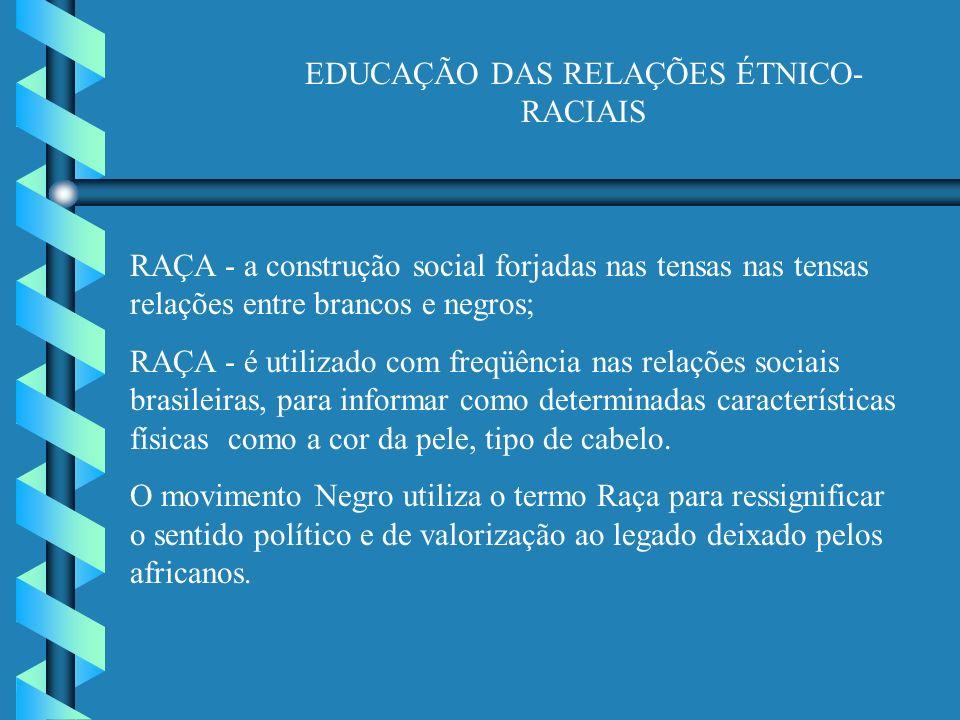 EDUCAÇÃO DAS RELAÇÕES ÉTNICO- RACIAIS RAÇA - a construção social forjadas nas tensas nas tensas relações entre brancos e negros; RAÇA - é utilizado com freqüência nas relações sociais brasileiras, para informar como determinadas características físicas como a cor da pele, tipo de cabelo.