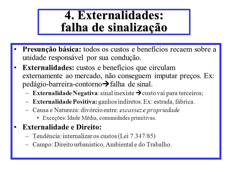 4. Externalidades: falha de sinalização Presunção básica: todos os custos e benefícios recaem sobre a unidade responsável por sua condução. Externalid