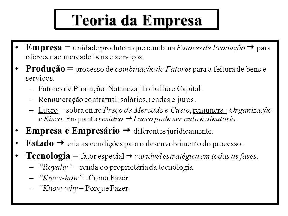 Teoria da Empresa Empresa = unidade produtora que combina Fatores de Produção para oferecer ao mercado bens e serviços. Produção = processo de combina