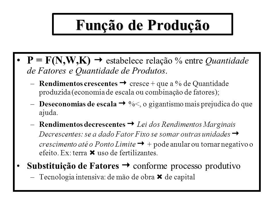Função de Produção P = F(N,W,K) estabelece relação % entre Quantidade de Fatores e Quantidade de Produtos. –Rendimentos crescentes cresce + que a % de