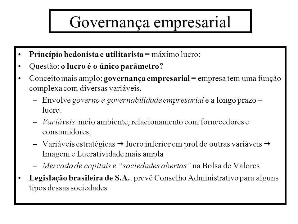 Governança empresarial Princípio hedonista e utilitarista = máximo lucro; Questão: o lucro é o único parâmetro? Conceito mais amplo: governança empres