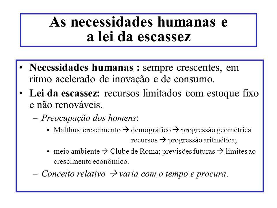 As necessidades humanas e a lei da escassez Necessidades humanas : sempre crescentes, em ritmo acelerado de inovação e de consumo. Lei da escassez: re
