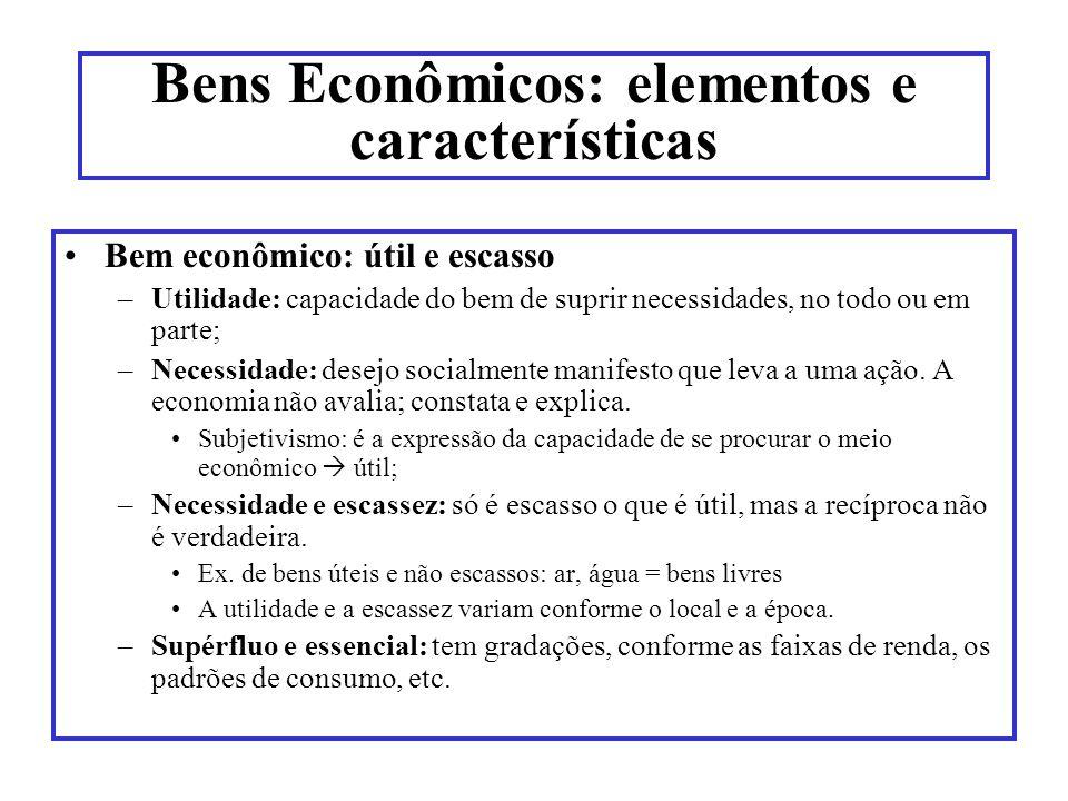 Bens Econômicos: elementos e características Bem econômico: útil e escasso –Utilidade: capacidade do bem de suprir necessidades, no todo ou em parte;