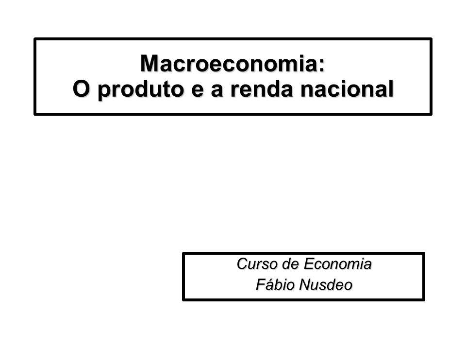 Macroeconomia: O produto e a renda nacional Curso de Economia Fábio Nusdeo