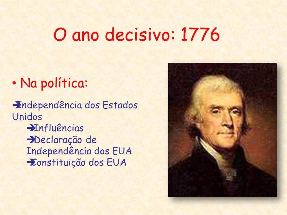 O ano decisivo: 1776 Na política: Independência dos Estados Unidos Influências Declaração de Independência dos EUA Constituição dos EUA