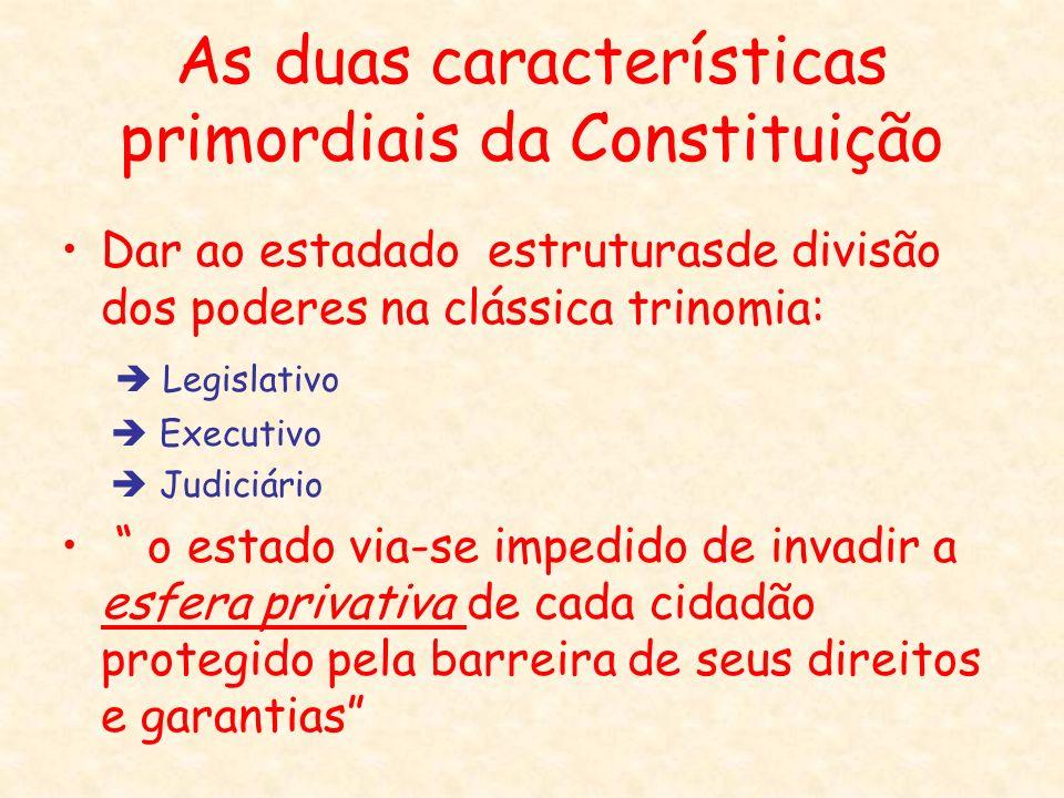 As duas características primordiais da Constituição Dar ao estadado estruturasde divisão dos poderes na clássica trinomia: Legislativo Executivo Judic