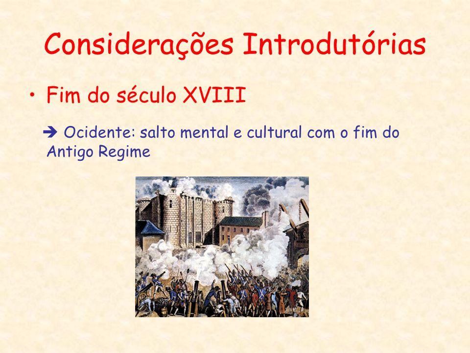 Considerações Introdutórias Fim do século XVIII Ocidente: salto mental e cultural com o fim do Antigo Regime