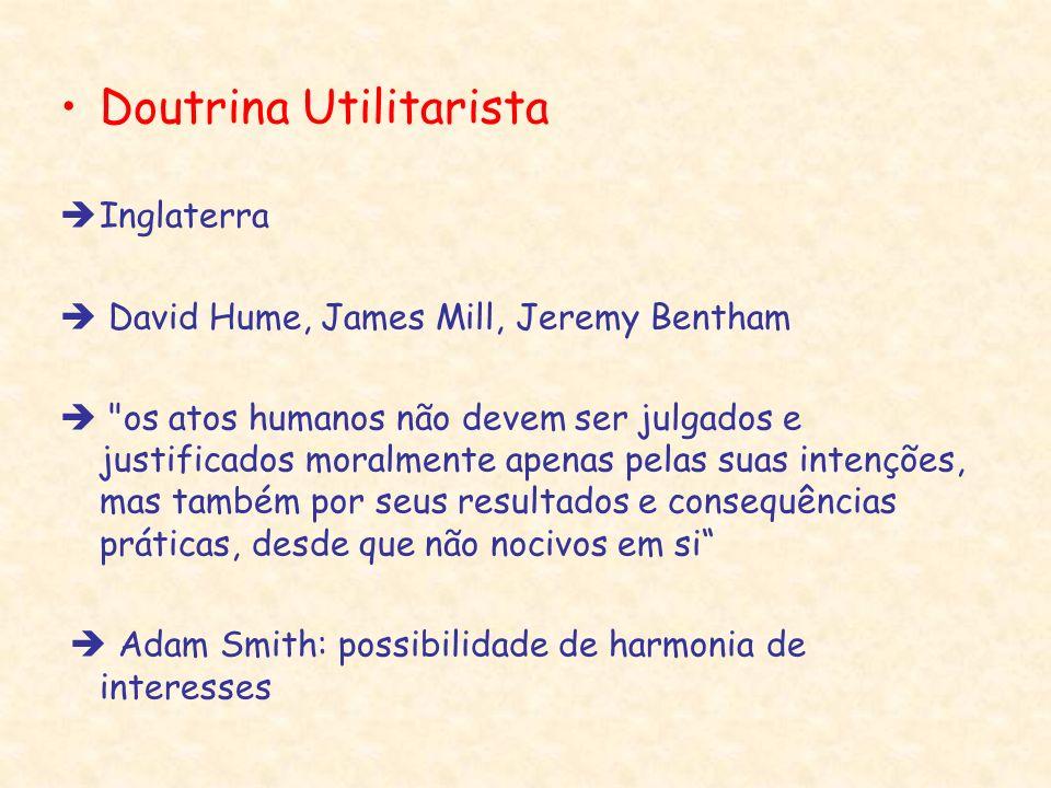 Doutrina Utilitarista Inglaterra David Hume, James Mill, Jeremy Bentham