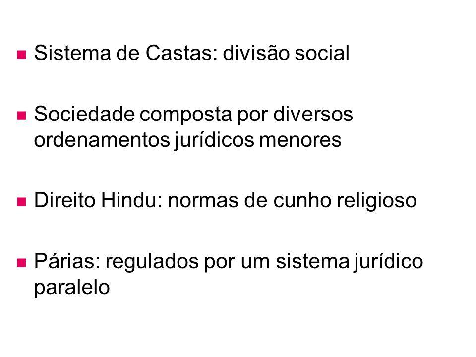 Sistema de Castas: divisão social Sociedade composta por diversos ordenamentos jurídicos menores Direito Hindu: normas de cunho religioso Párias: regu