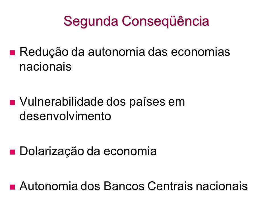 Segunda Conseqüência Redução da autonomia das economias nacionais Vulnerabilidade dos países em desenvolvimento Dolarização da economia Autonomia dos