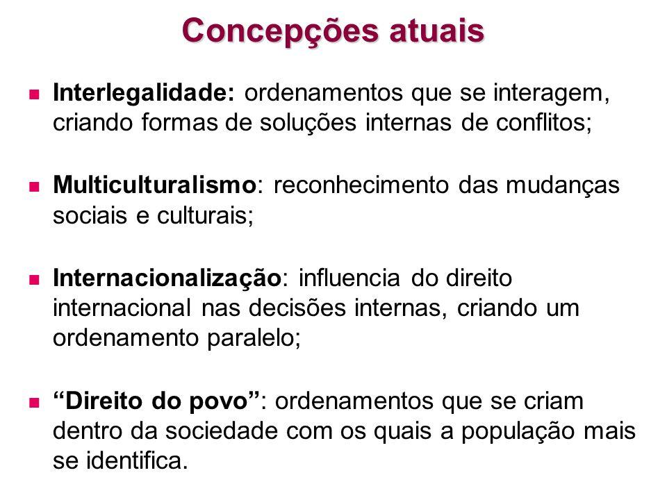 Concepções atuais Interlegalidade: ordenamentos que se interagem, criando formas de soluções internas de conflitos; Multiculturalismo: reconhecimento