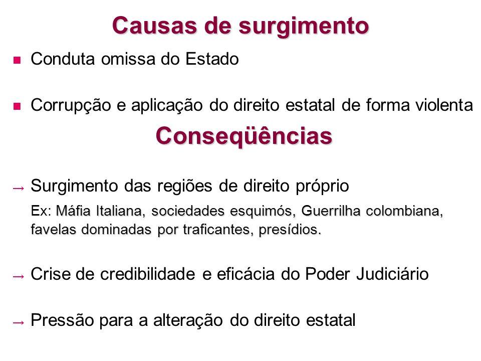 Causas de surgimento Conduta omissa do Estado Corrupção e aplicação do direito estatal de forma violentaConseqüências Surgimento das regiões de direit