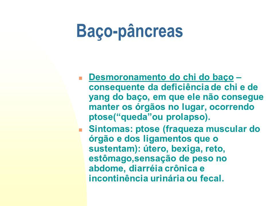 Baço-pâncreas Desmoronamento do chi do baço – consequente da deficiência de chi e de yang do baço, em que ele não consegue manter os órgãos no lugar,