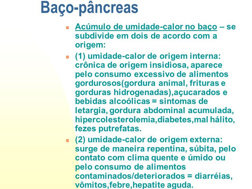Baço-pâncreas Acúmulo de umidade-calor no baço – se subdivide em dois de acordo com a origem: (1) umidade-calor de origem interna: crônica de origem i