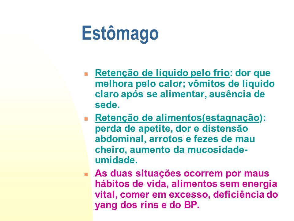 Estômago Retenção de líquido pelo frio: dor que melhora pelo calor; vômitos de liquido claro após se alimentar, ausência de sede. Retenção de alimento