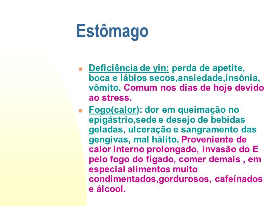 Estômago Deficiência de yin: perda de apetite, boca e lábios secos,ansiedade,insônia, vômito. Comum nos dias de hoje devido ao stress. Fogo(calor): do