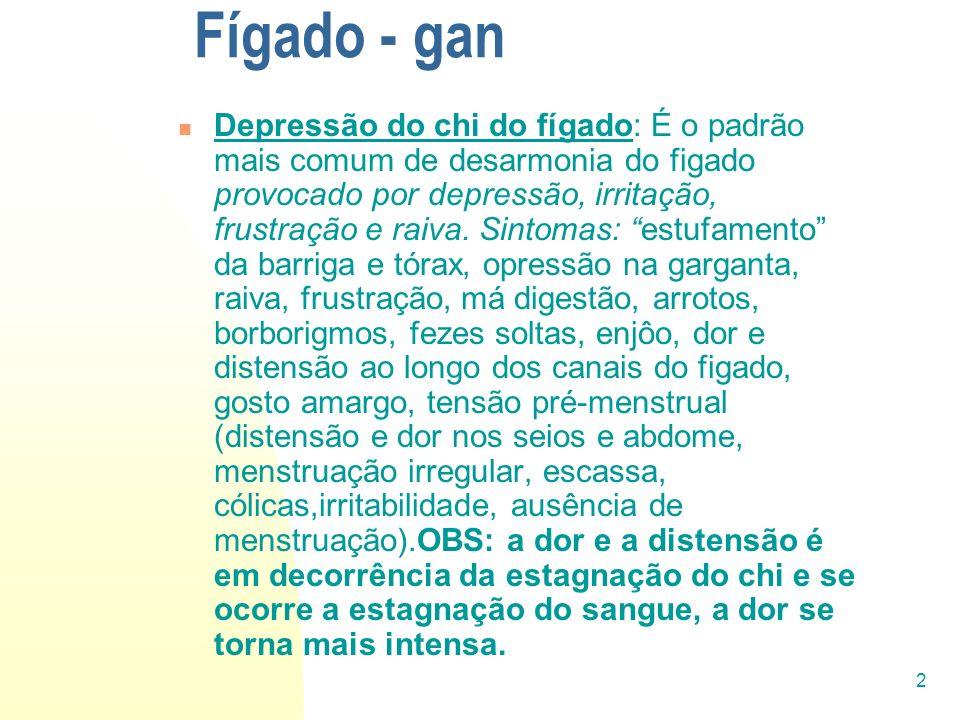 2 Fígado - gan Depressão do chi do fígado: É o padrão mais comum de desarmonia do figado provocado por depressão, irritação, frustração e raiva. Sinto