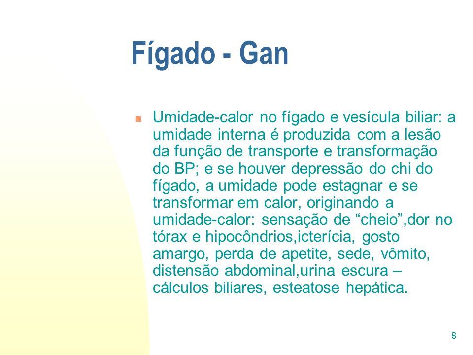 8 Fígado - Gan Umidade-calor no fígado e vesícula biliar: a umidade interna é produzida com a lesão da função de transporte e transformação do BP; e s