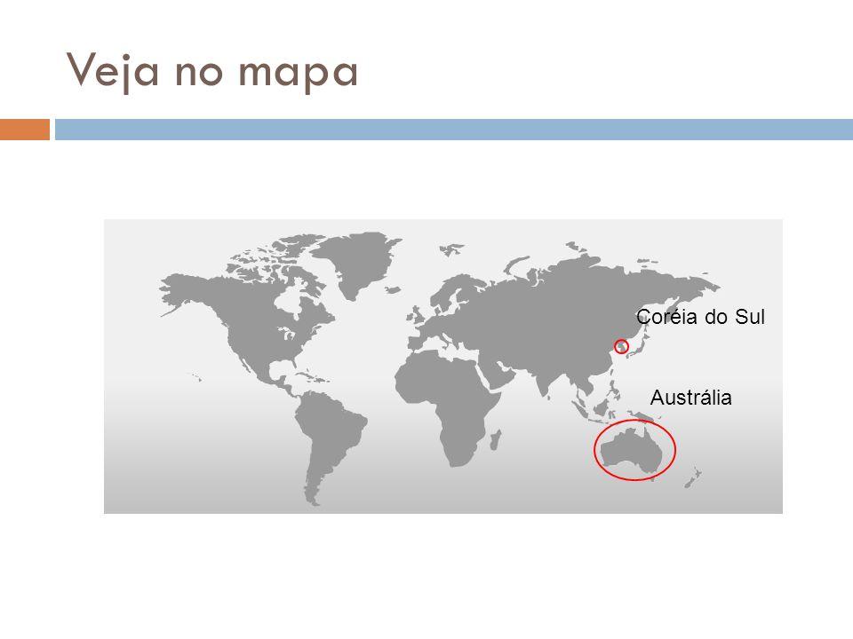 Veja no mapa Coréia do Sul Austrália