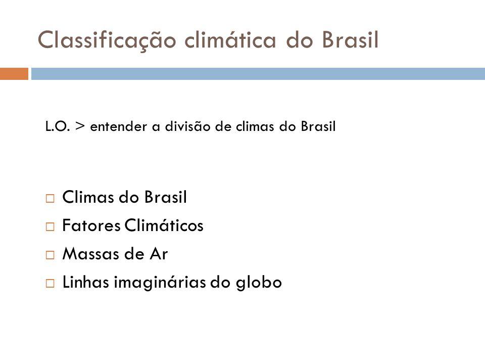 Classificação climática do Brasil Climas do Brasil Fatores Climáticos Massas de Ar Linhas imaginárias do globo L.O. > entender a divisão de climas do