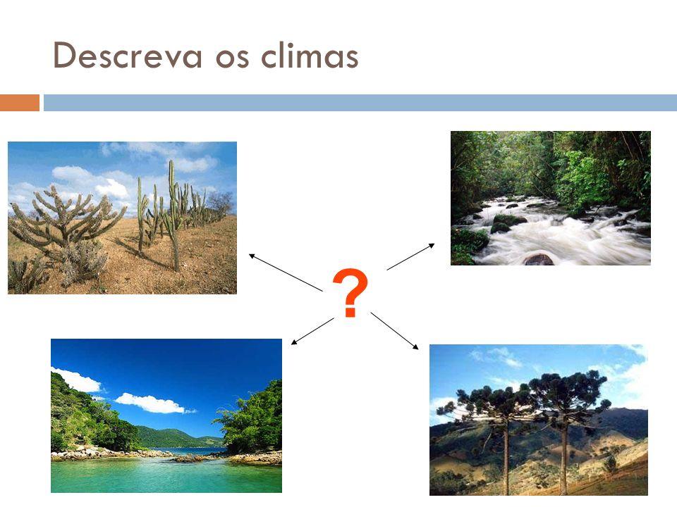 Domínios Climáticos Tropical; quente, úmido, esfria em parte do ano Tropical de altitude; mais frio que o tropical, em função da altitude elevada.