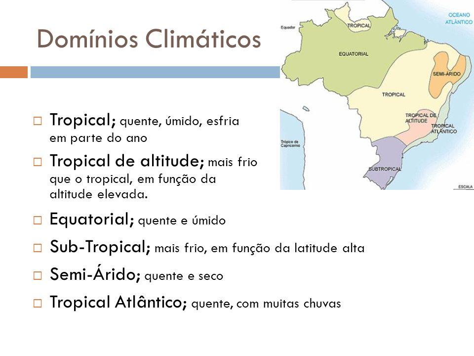 Domínios Climáticos Tropical; quente, úmido, esfria em parte do ano Tropical de altitude; mais frio que o tropical, em função da altitude elevada. Equ