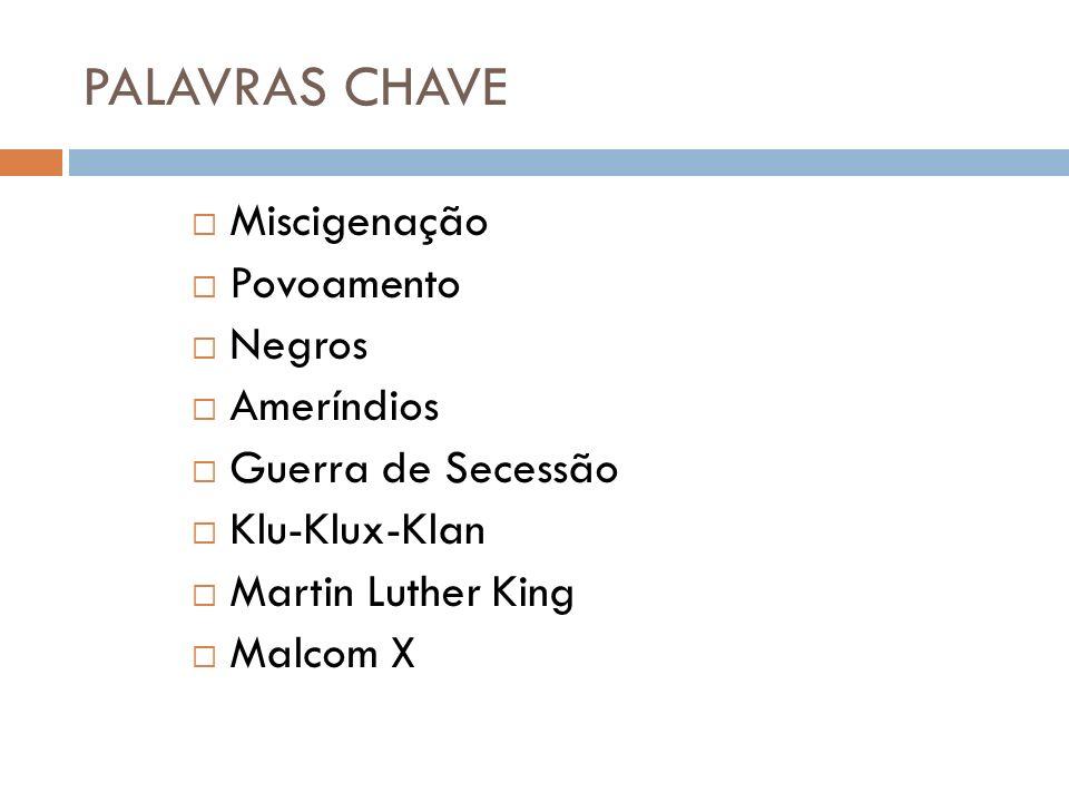 PALAVRAS CHAVE Miscigenação Povoamento Negros Ameríndios Guerra de Secessão Klu-Klux-Klan Martin Luther King Malcom X